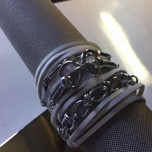 Free People Silver,and white leather bracelet NWT